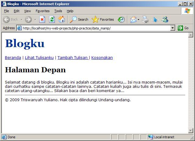 Halaman Index Blogku